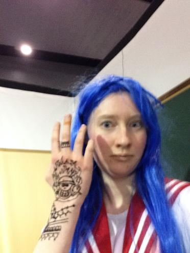 I got a cool One Piece henna design done by Jetni & Ema