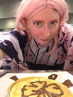I asked my maid to draw sakura flowers on my pancakes to match my cosplay :)